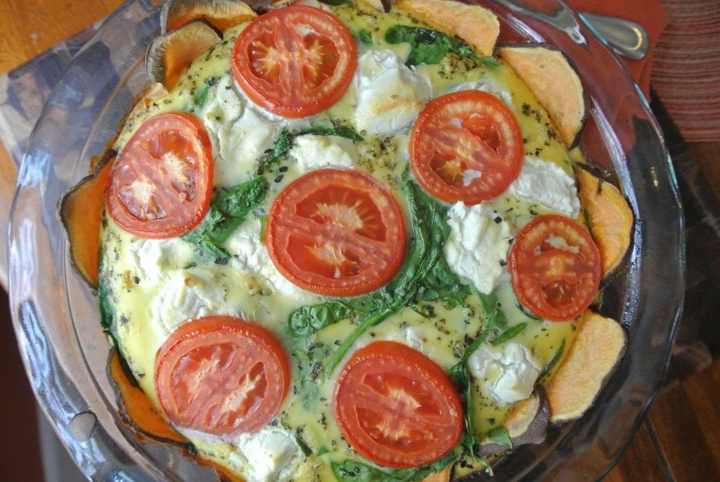 Goat Cheese, Spinach, and Tomato Quiche (Gluten Free and Lower Carb) #lowFODMAPs