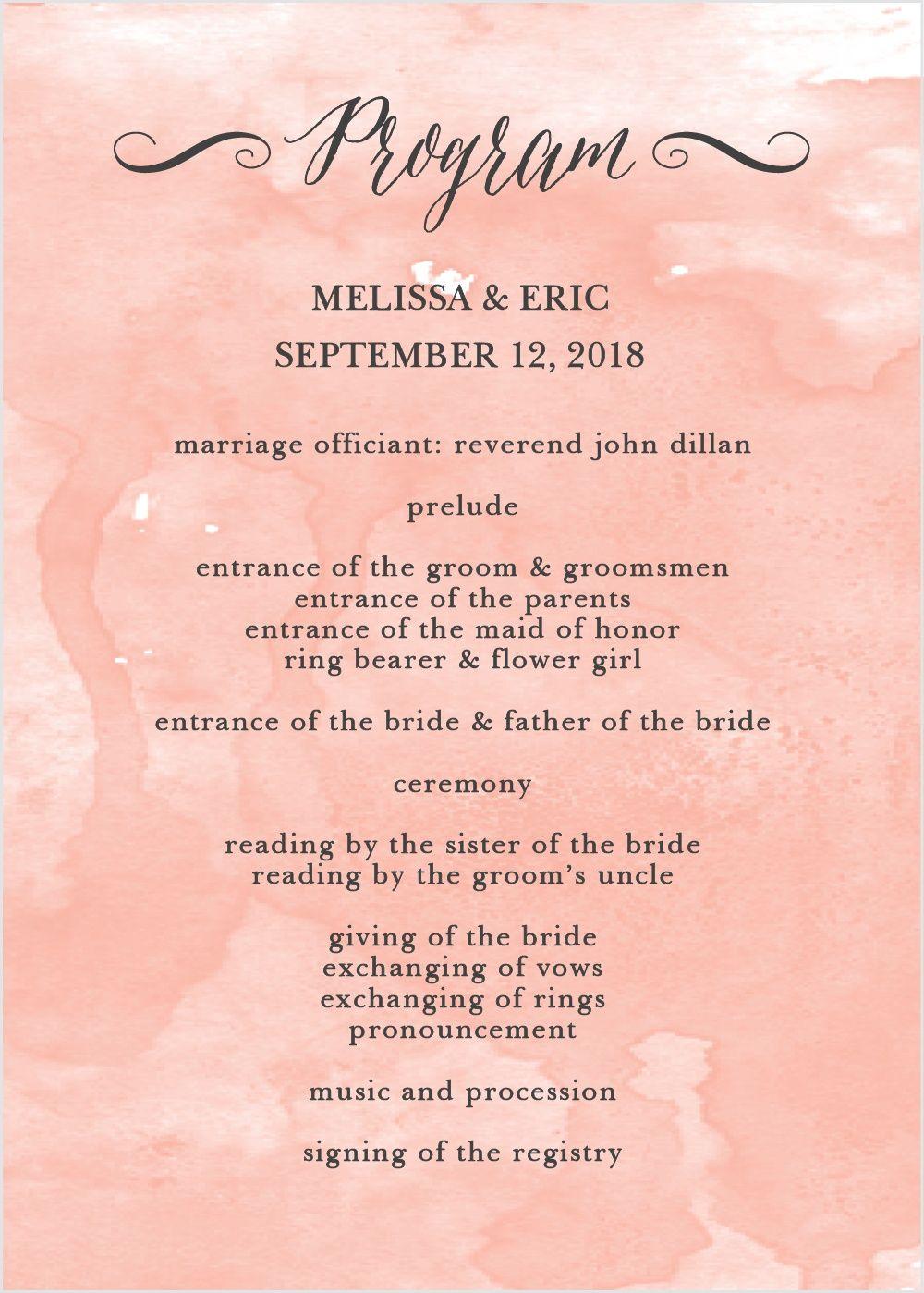 Watercolor Script Wedding Programs -   19 ressional wedding Songs ideas