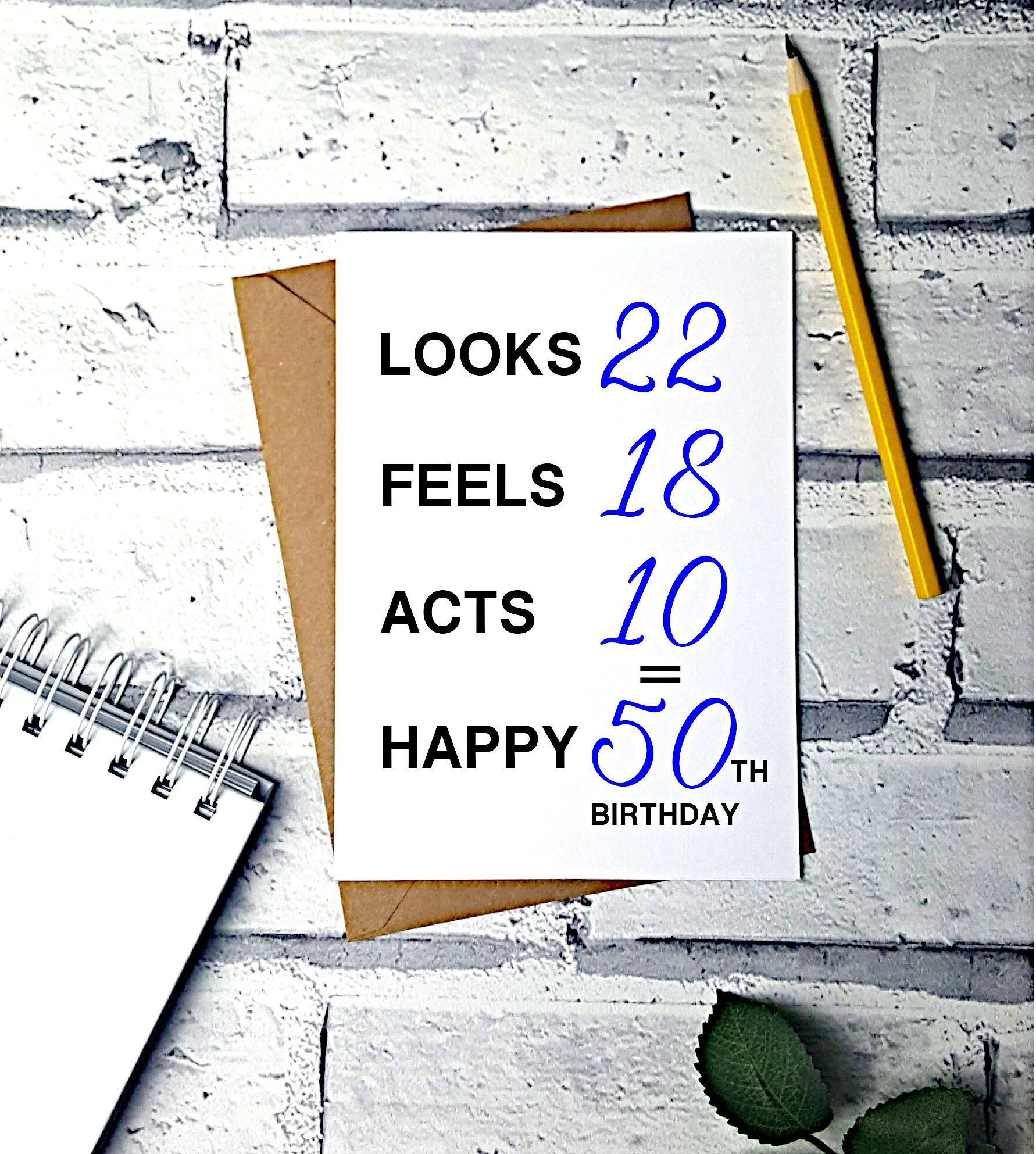 50th birthday card funny card greeting card 50th