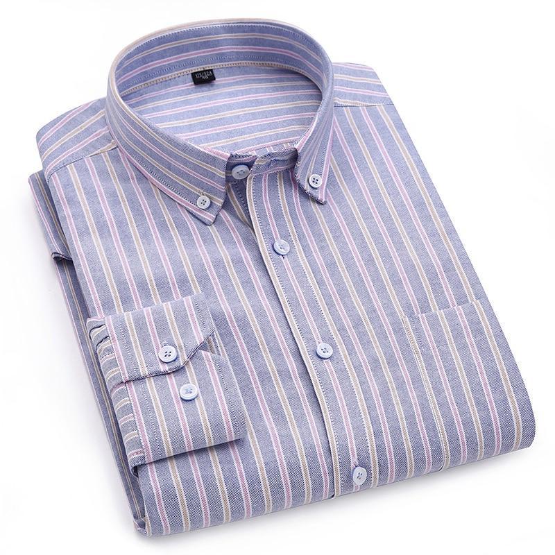 Oxford Striped Men/'s Button Down Dress Shirts Casual Long Sleeve Slim Fit Shirt