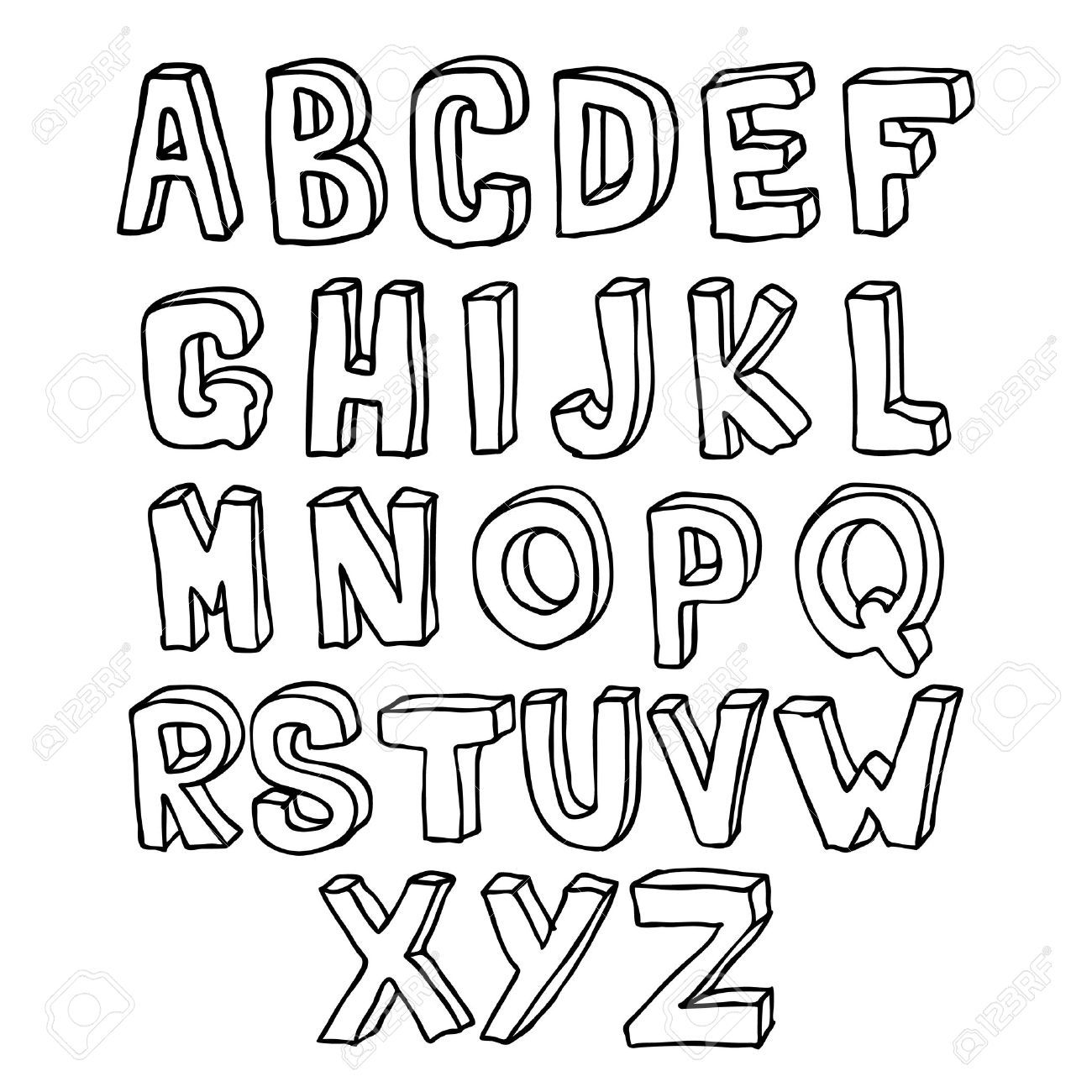 lettering alphabet hand drawn lettering 3d alphabet royalty free cliparts hand lettering. Black Bedroom Furniture Sets. Home Design Ideas