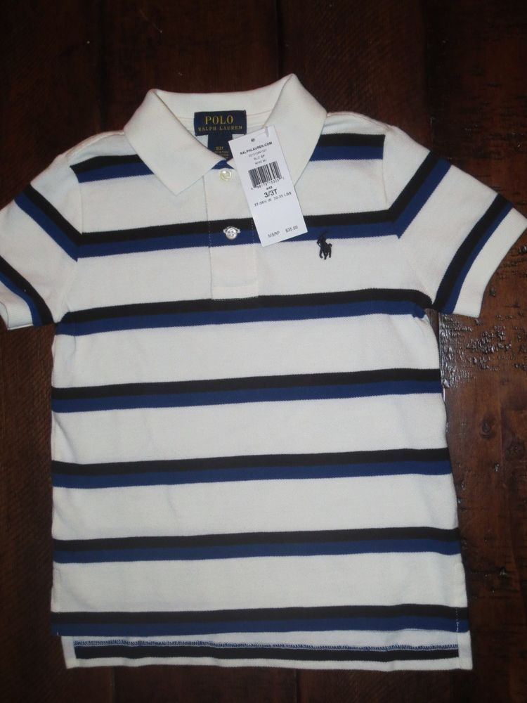 c65a722a4eb9 New ralph lauren boy s 3   3t polo shirt blue   white striped nwt ...
