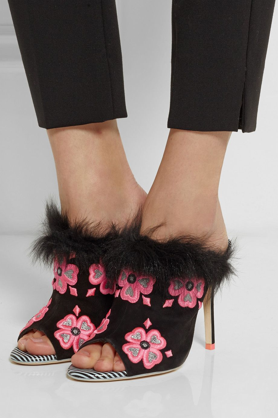 Cheap And Best Quality Sophia Webster Suede Black Louby Embroidered Marabou trimmed Mules