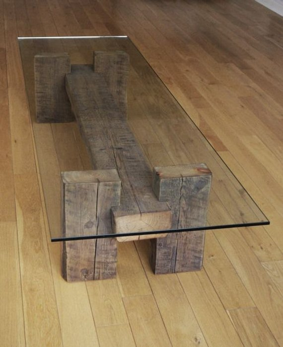 Classic Glass Topped Table Made of Reclaimed Wood Beams with ...