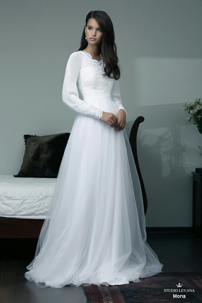 Princess modest wedding gown with long chiffon sleeves and tulle ...