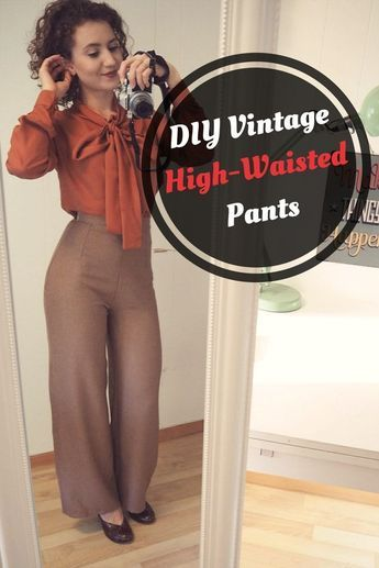 DIY Vintage HighWaisted Pants - Diy clothes patterns, Pants pattern free, Sewing clothes women, Diy pants, Sewing patterns free women, Sewing tutorials clothes - Learn how to make your own DIY Vintage HighWaisted Pants! Free tutorial for women!