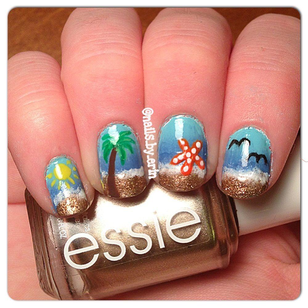Beach Themed Nails :)