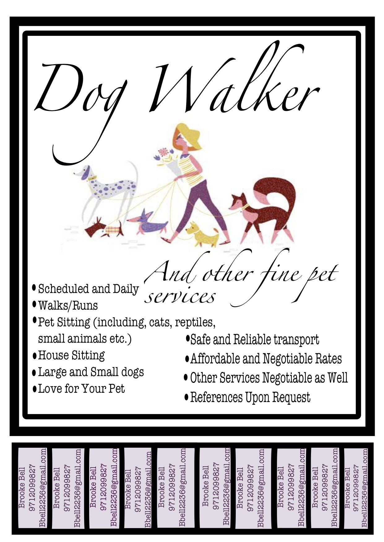 New Dog Walking Poster Pet Cafe Dog Walking Small Pets