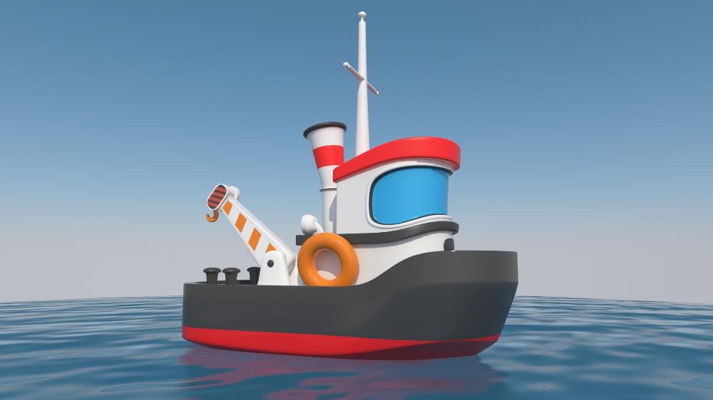 Cartoon Boat Toy Tugboat 3d Turbosquid 1464123 Boat Cartoon Tug Boats Cartoon