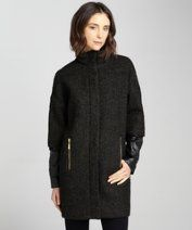 Vince Camuto : olive black wool stand collar with polyurethane sleeves style #324264302