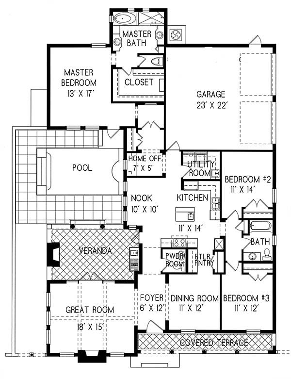 Plan 1 1300 Period Style Homes Plan Sales House Plans Courtyard House Plans Cottage House Plans