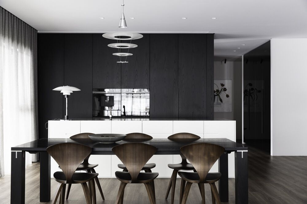 Cherner Chairs And Louis Poulsen Lighting Dining Area Design