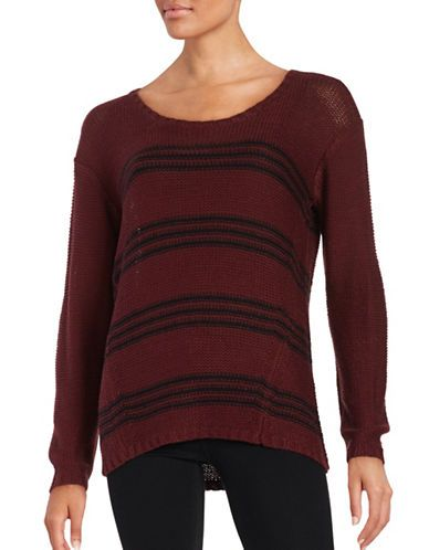 Design Lab Lord & Taylor Knit Striped Sweater Women's Burgundy Medium