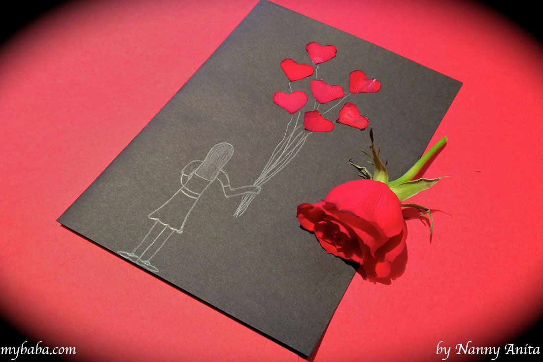 Handmade Valentine S Cards With Rose Petals Valentine Day Cards