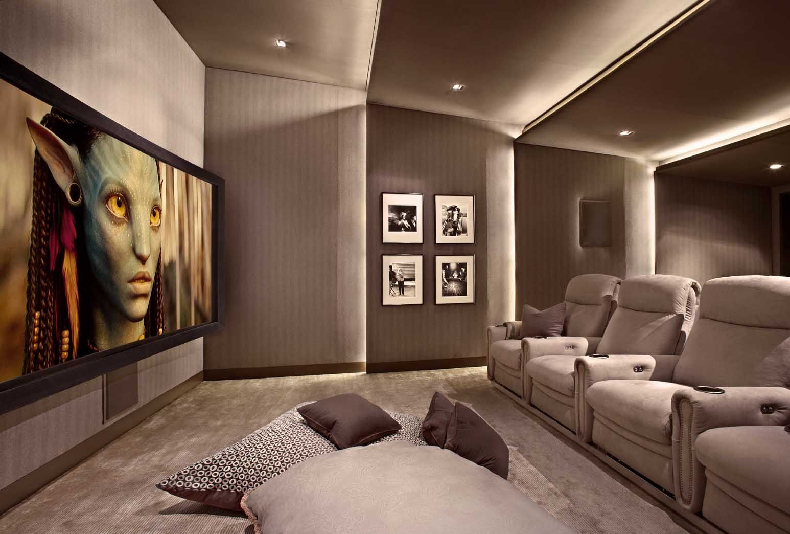 Lower Storey Cinema Room #hometheater #projector Home Theatre, Surround  Sound, Plasma Tv, Recliner Sofa, Acoustics, Wall Paneling, Carpeting, False  Ceiling, ...