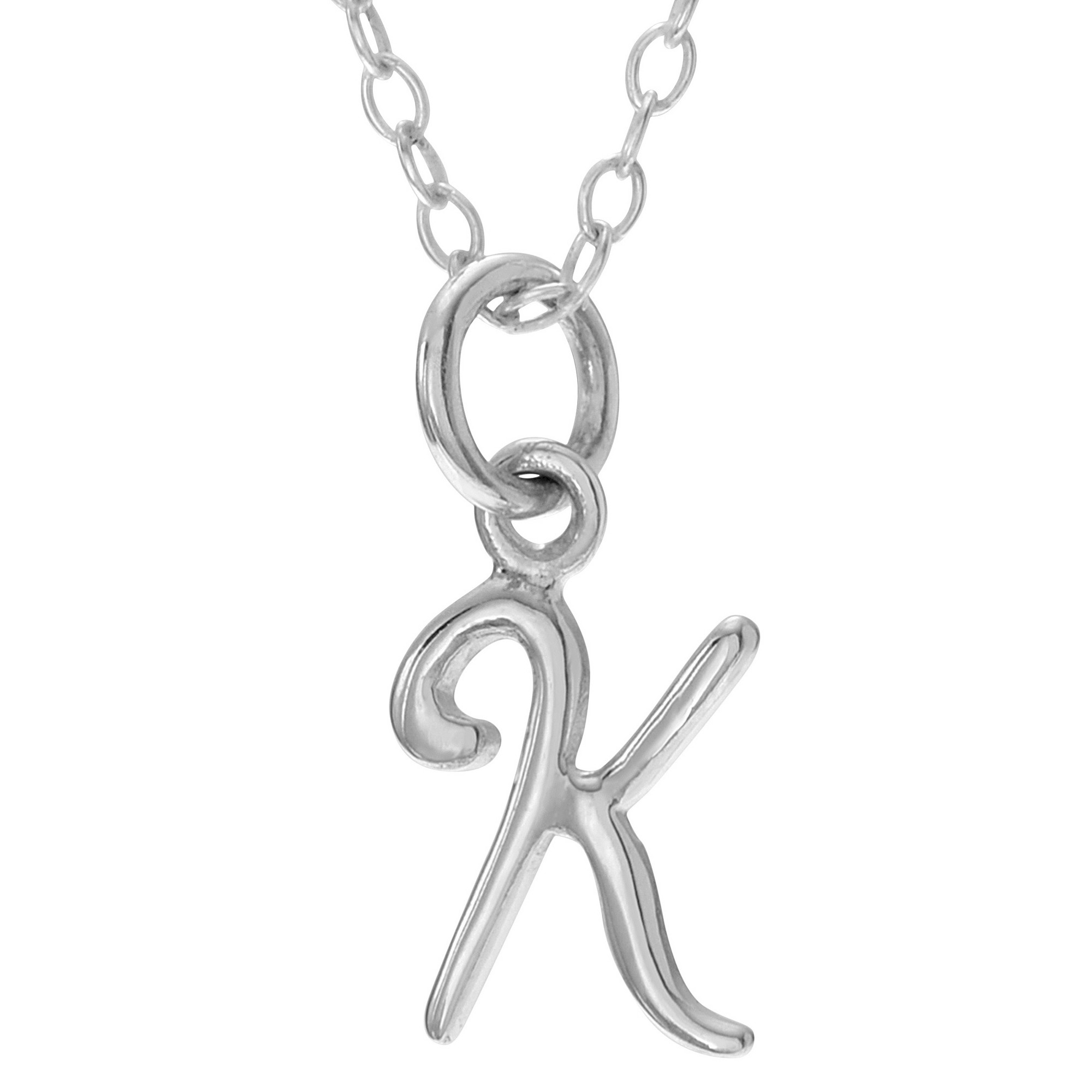 b3890333c74651 Women's Journee Collection Initial K Charm Pendant Necklace in Sterling  Silver - Silver (18), Silver K