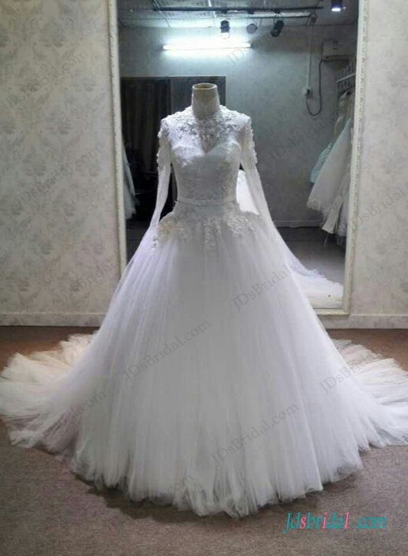 H1297 Graceful High Neck Long Sleeved Lace Tulle Ball Gown Wedding