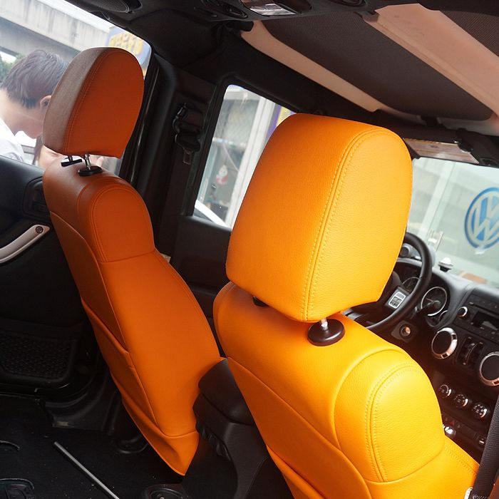 Wrangler Orange And Black Professional Auto Leather Seat Covers Seats Wrapping Your Car