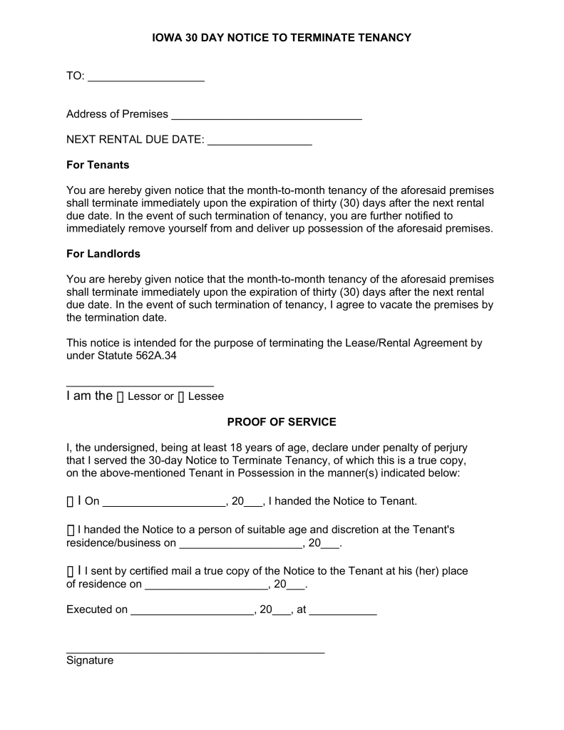 Iowa Lease Termination Letter Form Day Notice Eforms Free Fillable