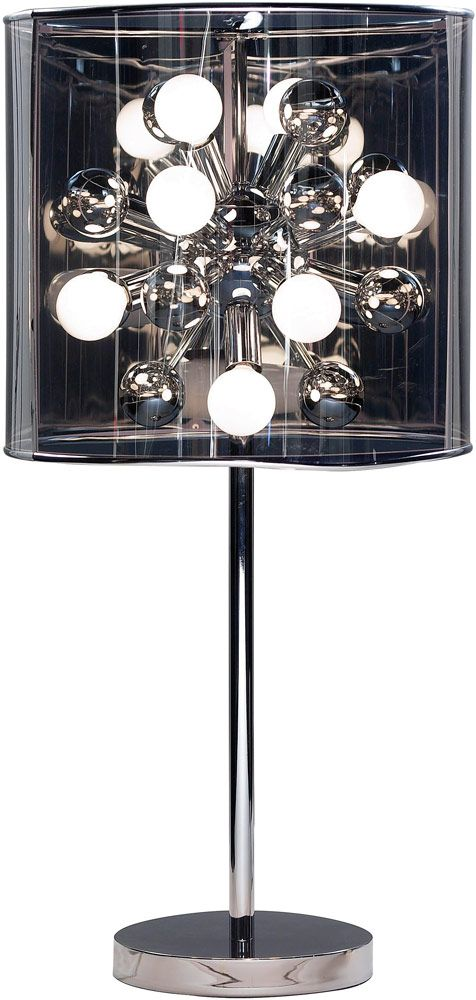 Adesso 3260 Starburst Table Lamp What We Like About This The Features A Chrome Stick Pole And Flat Round Base With Dark