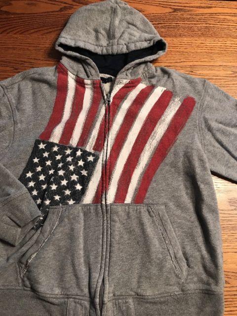 Gap Kids Boys Size XL, 12 American Flag Gray Zip Front Hoodie ...