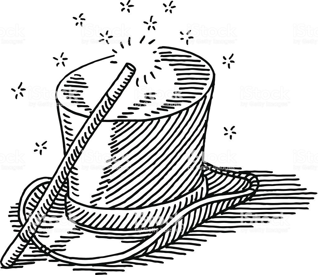 Hand Drawn Vector Drawing Of A Magic Wand And A Top Hat Hat Drawing Top Hat Drawing Hat Illustration