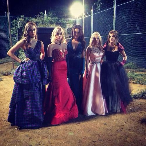 Pretty little liars , love these prom dresses Troian ,Ashley ,Shay ,Lucy and Jannel all look stunning! I think spencer and arias are my favorite , they are edgy and beautiful!