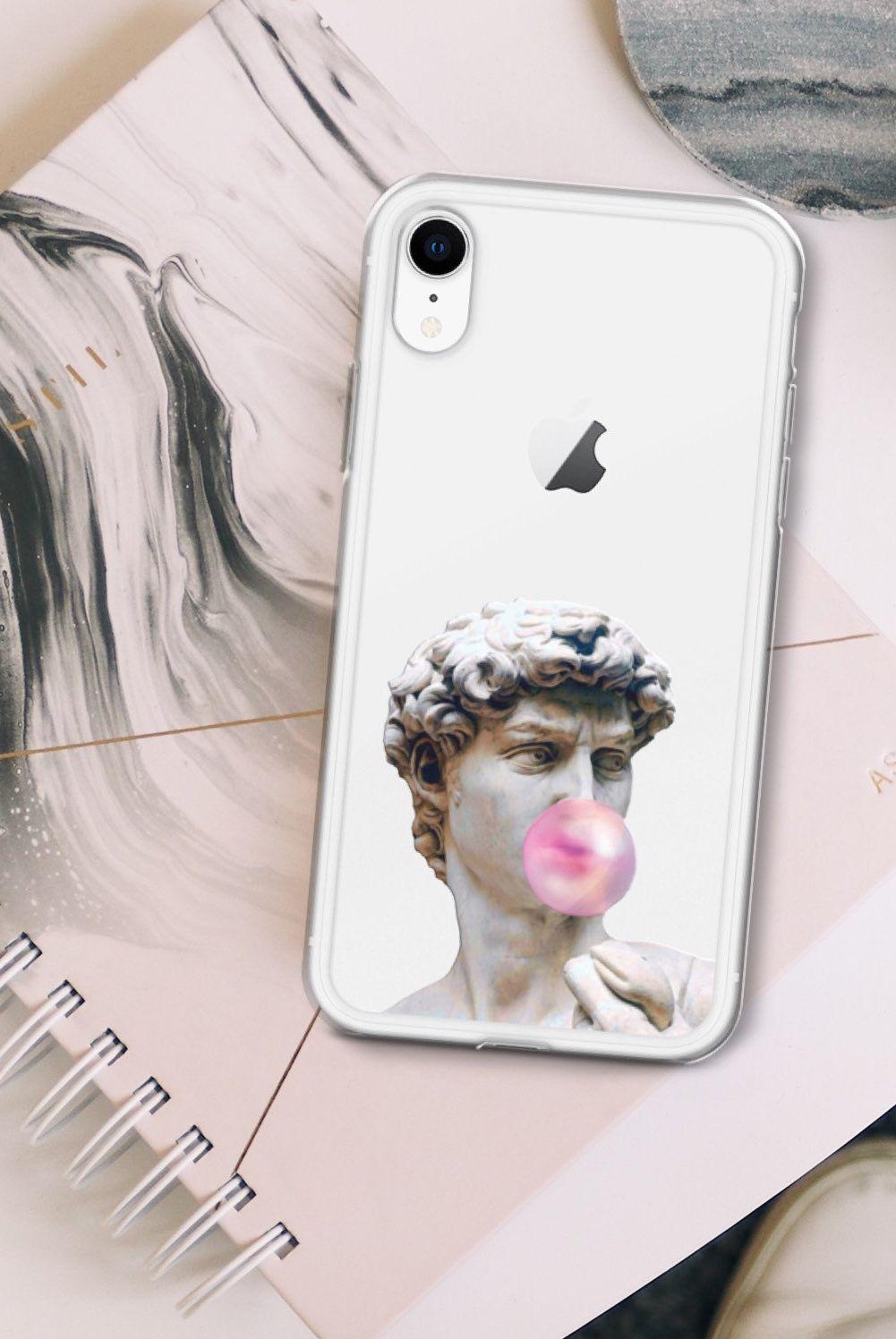 David Statue Bubblegum Clear Phone Case For Iphone 11 Pro Xs Etsy In 2020 Phone Cases Clear Phone Case Case