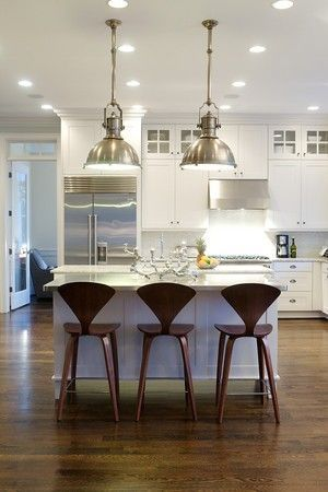 Stainless And Dark Woods Mixed With Clean White Heather Garrett Design Via Houzz Com Kitchen Remodel Stools For Kitchen Island Kitchen Design