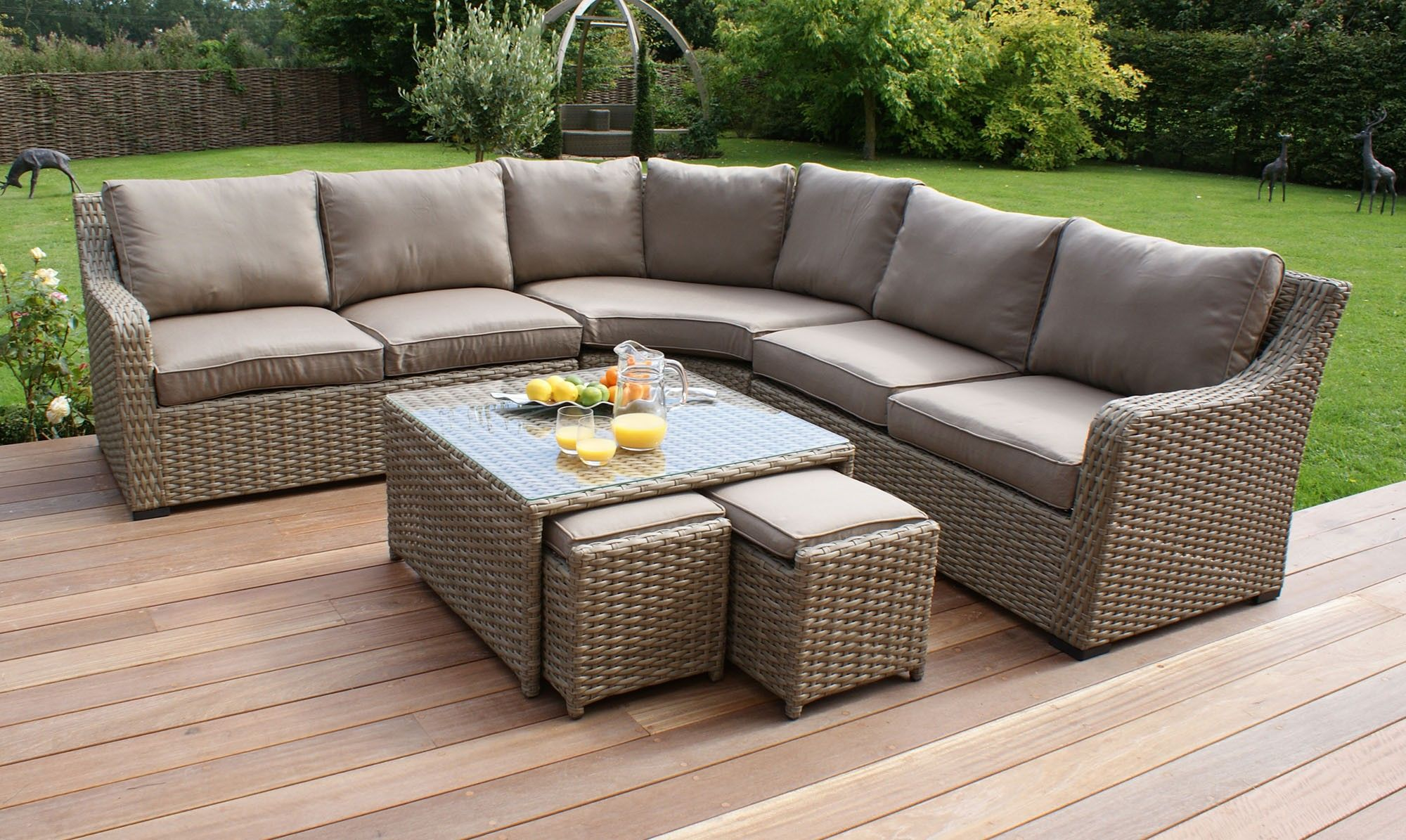 shop for beautiful natural rattan garden furniture at fishpools - Garden Furniture Corner Sofa