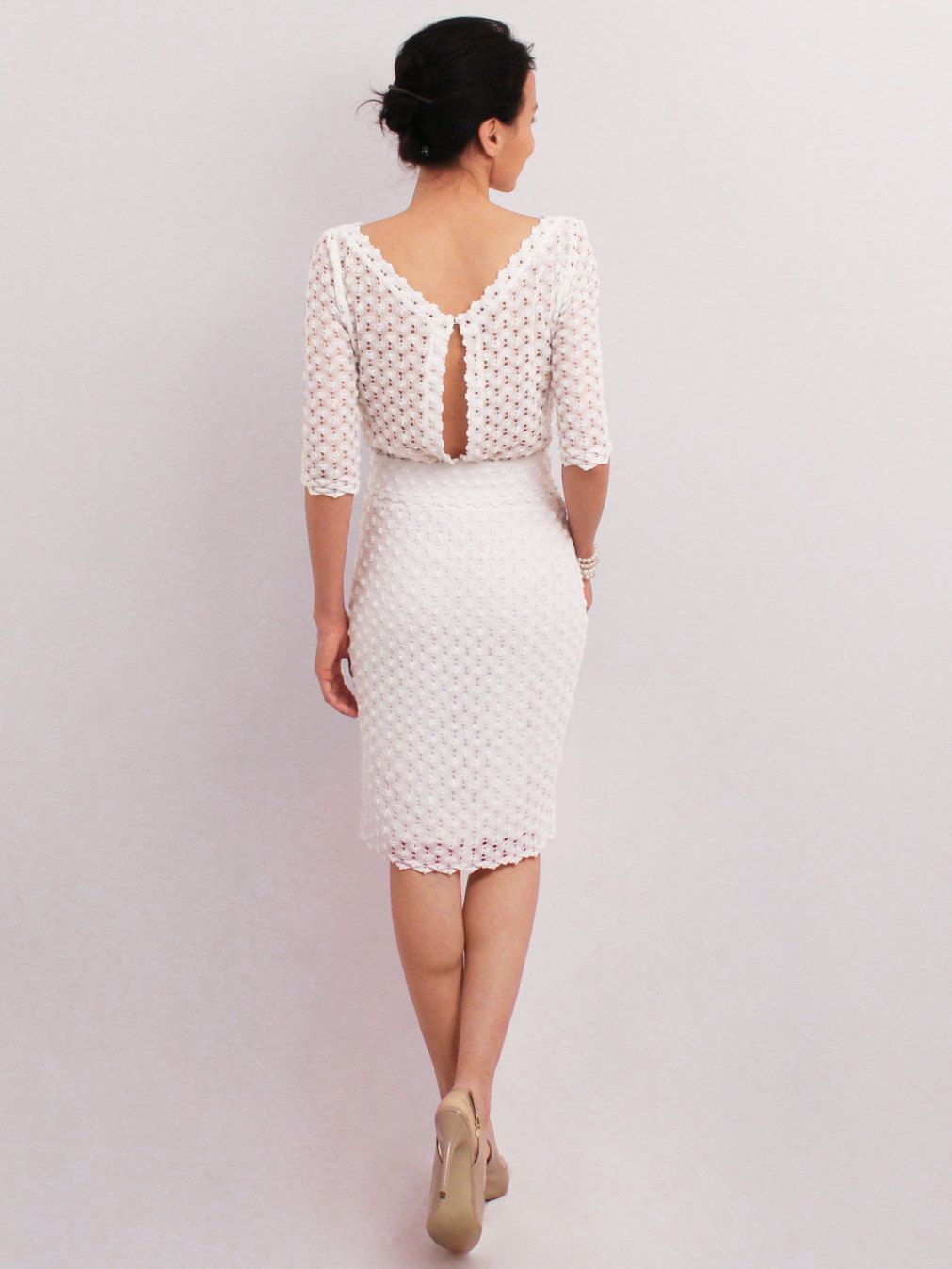 White pencil dress elegant midi dress medium sleeve knee dress