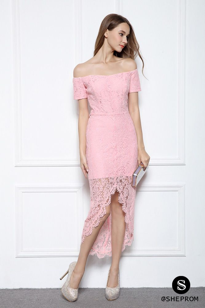 Pink Lace Off Shoulder High Low Party Dress - $89 #CK566 - SheProm ...