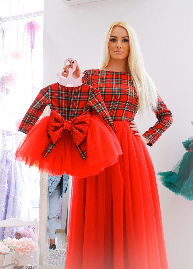 Photo of Mother daughter matching dresses for Christmas party, photo shoot, mommy and me Xmas outfit, red plaid holiday dress, plus size plaid dress