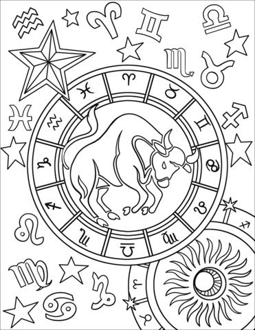 Taurus Zodiac Sign Coloring Page Signo Del Zodiaco Tauro Páginas Para Colorear De Animales Signos Del Zodiaco