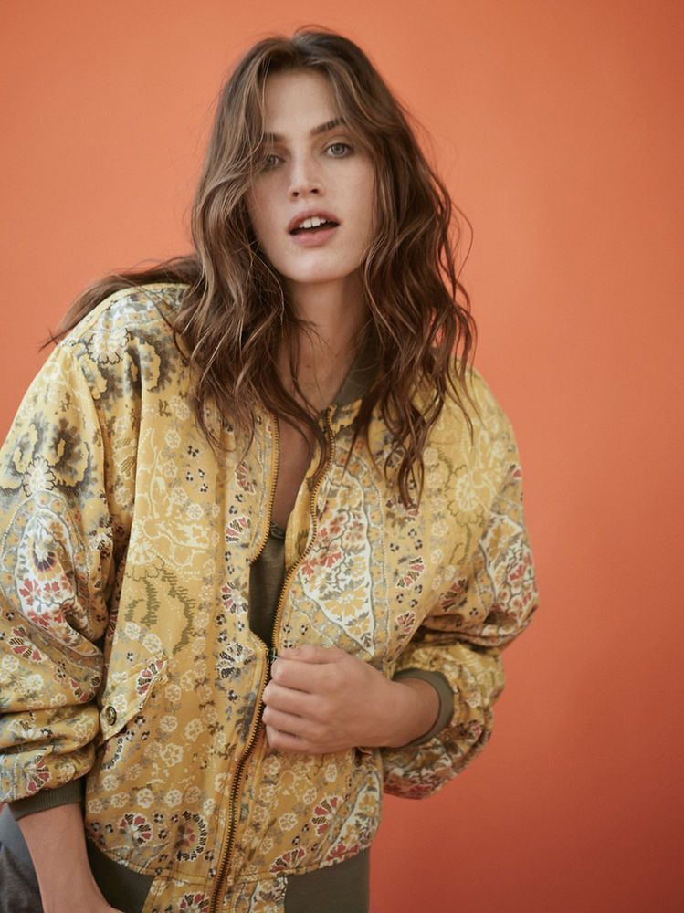 70801eac4 Free People Printed Daytripper Bomber Jacket Small NWT Gold Combo ...