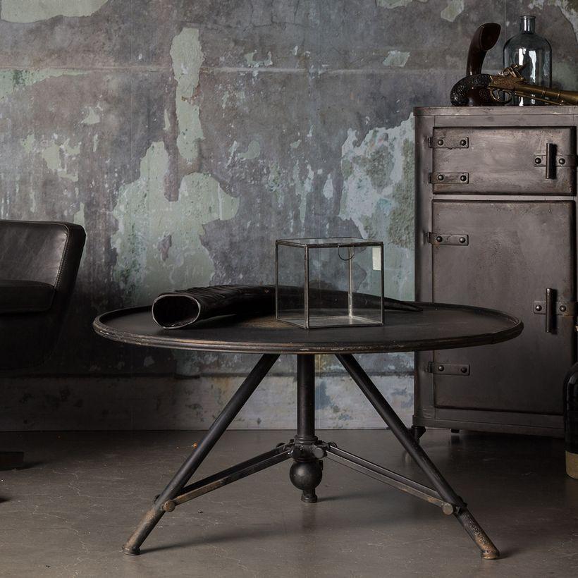 Table Basse Ronde En Metal Finition Vieillie Vintage Brok