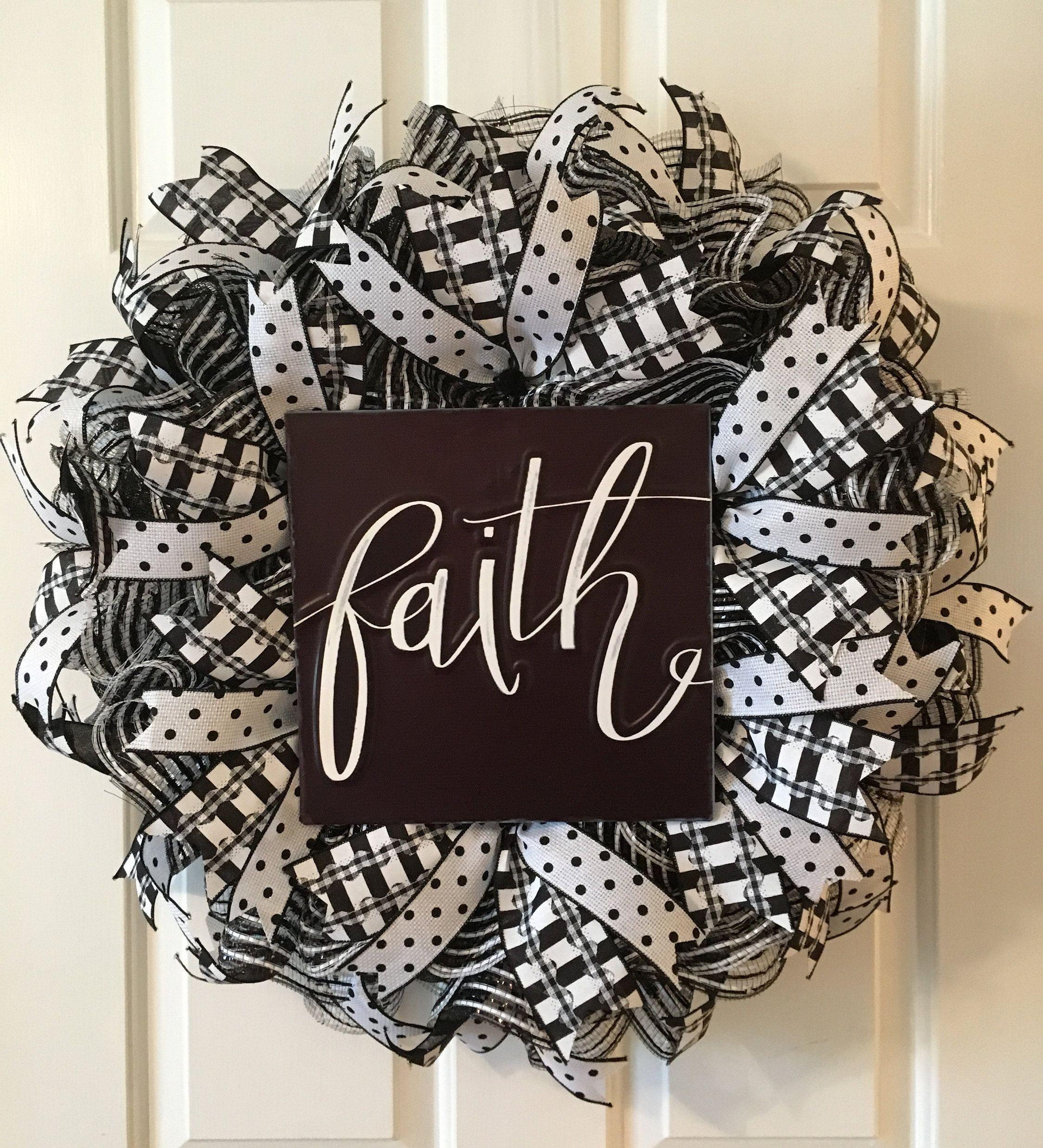 Photo of Faith Wreath, Black & White Wreath, Everyday Wreath, Front Door Wreath, Religious Wreath, Mesh Wreath,