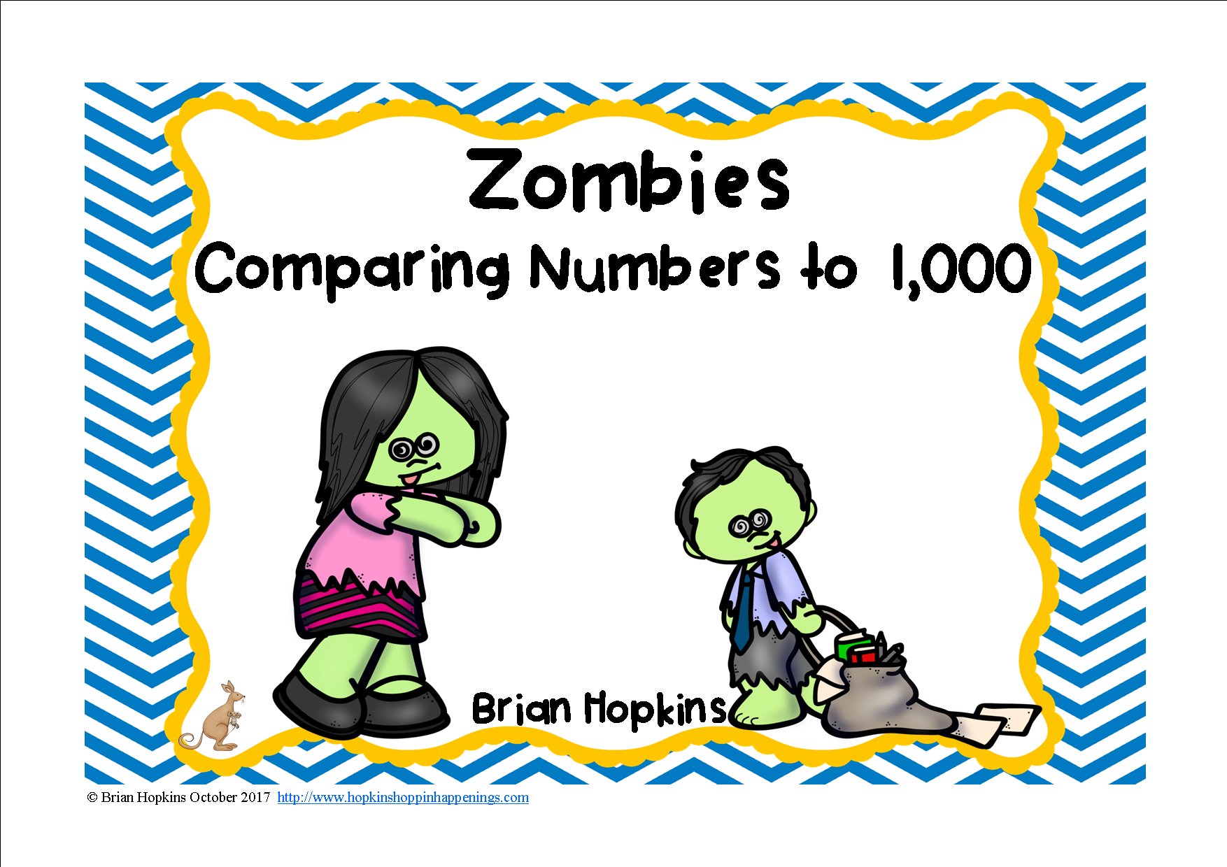 Zombies Comparing Numbers To 1 000 Task Cards
