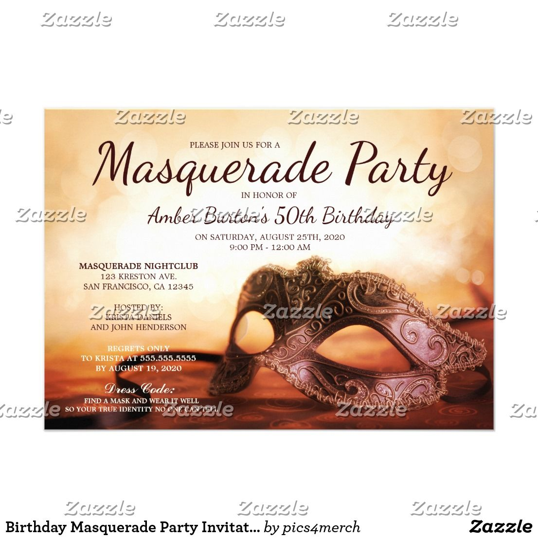 Birthday Masquerade Party Invitation Template | MASQUERADE SWEET ...