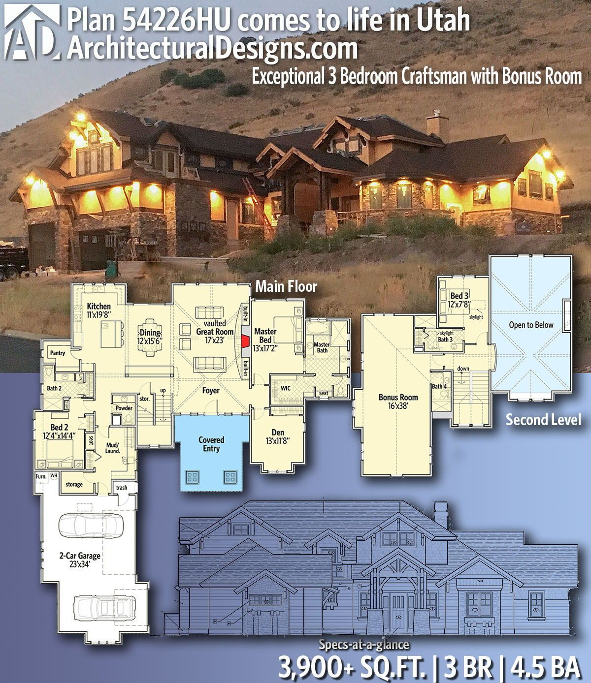 Plan 54226hu Exceptional 3 Bedroom Craftsman With Bonus Room Dream House Plans Craftsman House Plans New House Plans