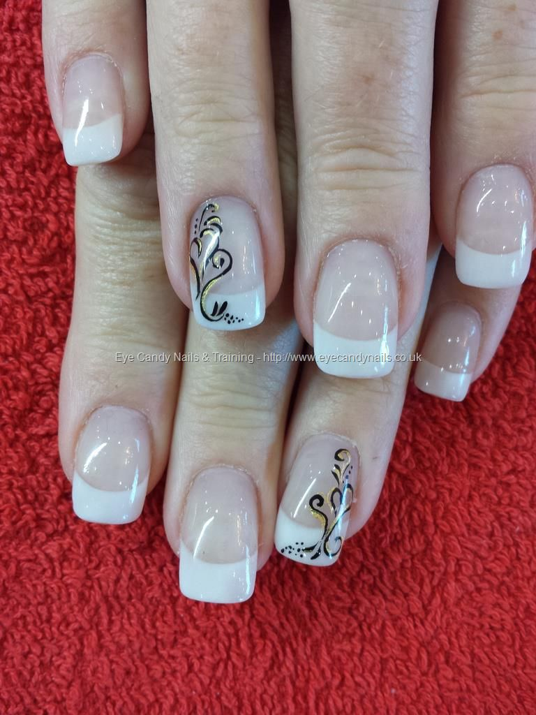 White acrylic tips with black freehand nail art Taken at:07/11/2013 ...