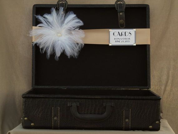 Wedding Card Box Suitcase / Vintage Style / Program Holder / Art Deco Wedding Suitcase on Etsy, £38.39