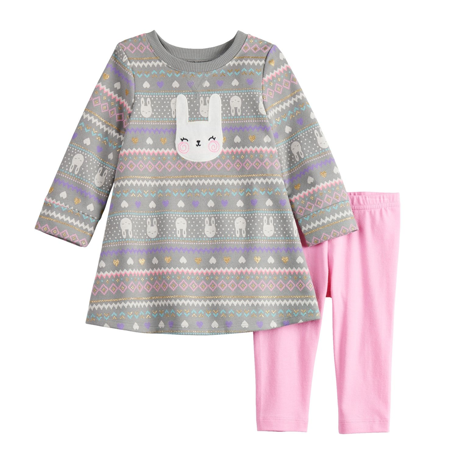 Baby Girl Jumping Beans? Glittery Print French Terry Swing