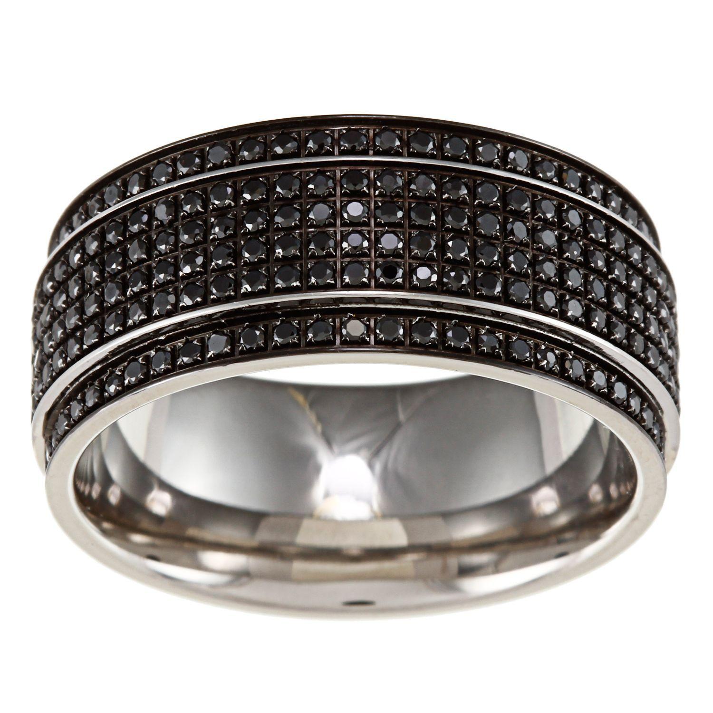 <li>Round-cut black diamond ring</li><li>Stainless steel jewelry</li><li><a href='http://www.overstock.com/downloads/pdf/2010_RingSizing.pdf'><span class='links'>Click here for ring sizing guide</span></a></li>