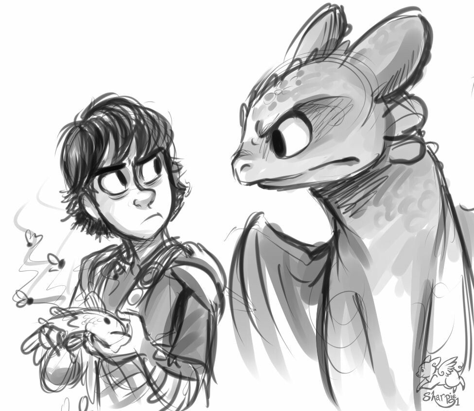 Hiccup & Toothless- Eat the Fish | My Drawing Style | Pinterest