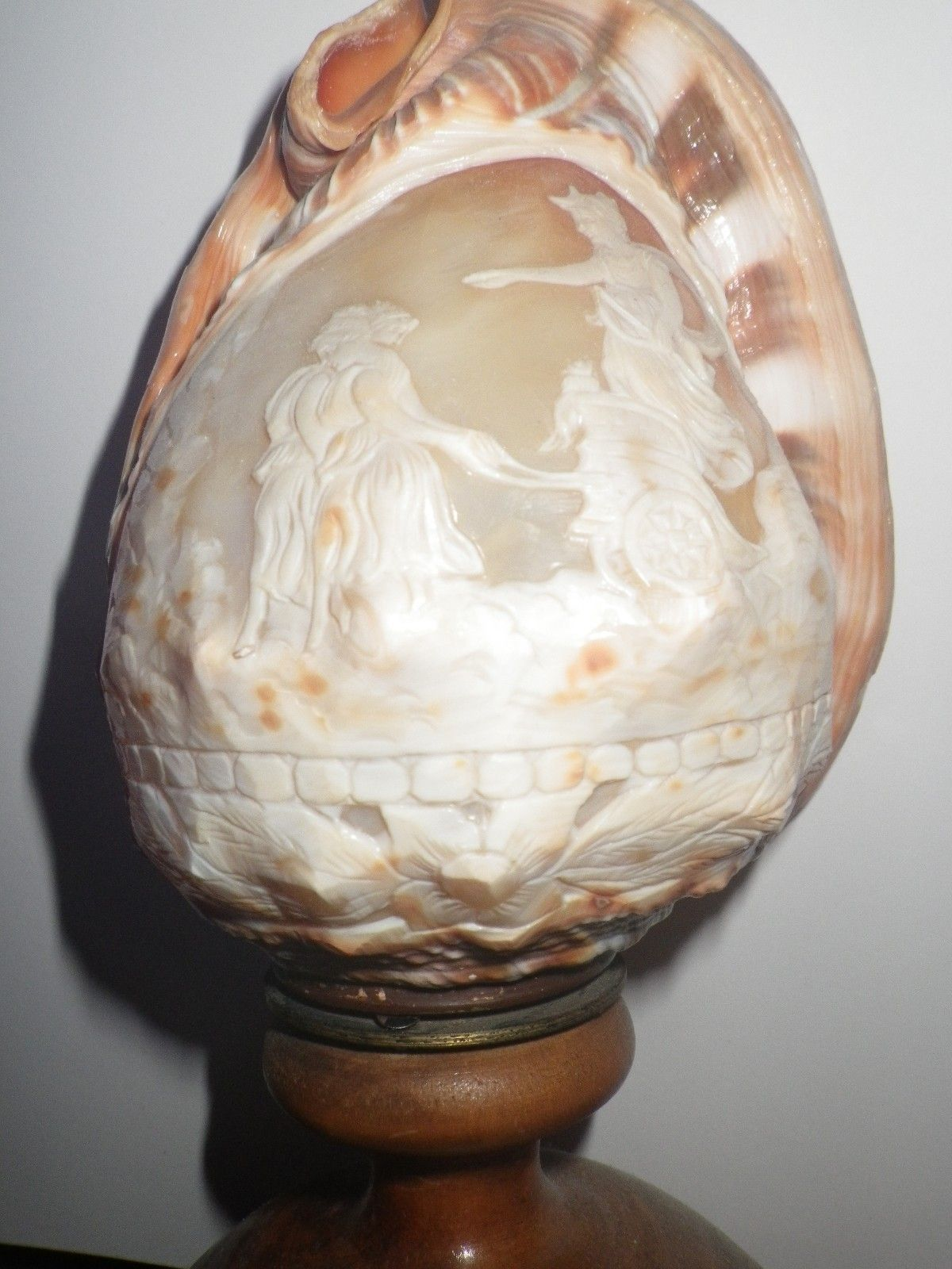 Vintage Carved Conch Shell Cameo Lamp Roman God and Goddesses.