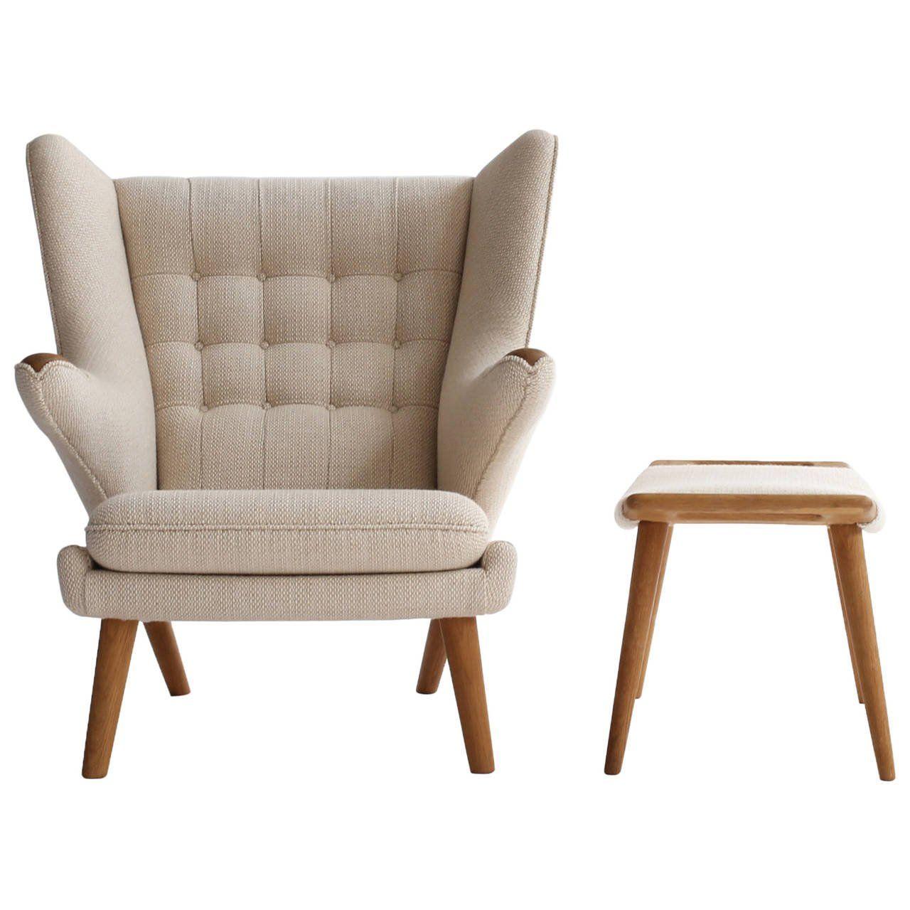 Vintage Hans J. Wegner Papa Bear Chair With Stool 1