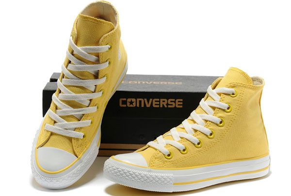 New Overseas Converse New Color Dazzling Lemon Yellow Chuck Taylor All Star  High Tops Canvas Women