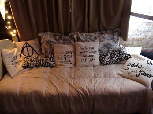 bed, harry potter, pillows, room, the hunger games - inspiring picture on Favim.com