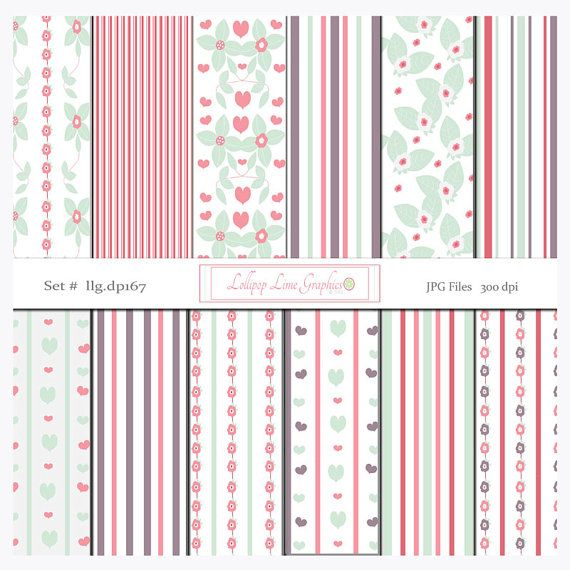Floral Hearts Stripes Digital Paper Pack Flowers Leaves Pastel Valentines Day Shabby Chic Background Clipart